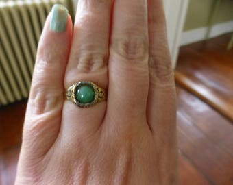 Antique 1820s Georgian Solid 14k Gold Enamel Green Stone Ring, Jade?, Unusual Antique Ring, Size 7