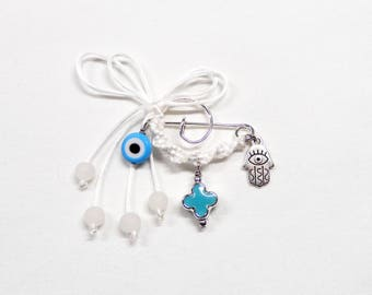 Baby Boy Safety Pin Brooch Good Luck, Handmade Baby Pin, Newborn's Evil Eye Protection Brooch, Baby Shower Gift with Hamsa Hand- 1 piece