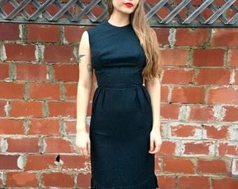 Black Vintage Dress // Black Cap Sleeve Dress // Black Knee Length Dress // 1960's Black Dress // Small Black Dress // 1950's Black Dress