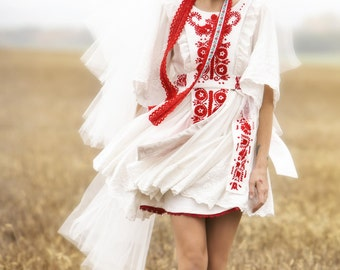 Folk ivory short dress
