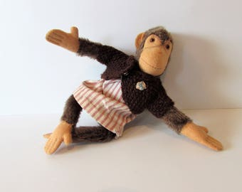 "Cute 7"" Steiff Chimpanzee, Hard Stuffed With Flexible Legs And Arms - Good Used Condition - Without Tag. / MEMsArtShop"