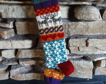 Christmas Stocking, Knit Christmas Stocking, Personalized Christmas Stockings, Knitted Christmas Stockings, Brown Reindeer, Teal Argyle