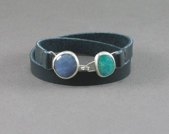 Amazonite and Sodalite Leather Wrap Bracelet