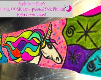 Yarn,sock blanks,  single knit sock blanks, OOAK sock blanks, abstract painted sock blanks, yarn in handmade,acid dyed yarn
