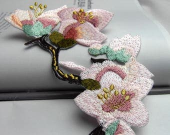 pink white flower sakura cherry blossom brown gray black branch iron on embroidery patches