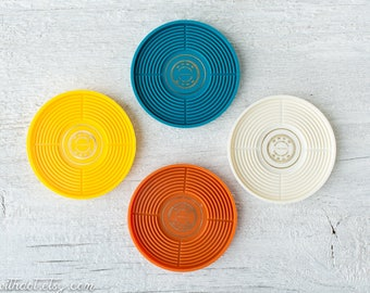4 Retro Coasters, Two Sets Available- Vintage Plastic Coasters - Teal, Yellow, Orange, and White Coasters - Teraco Honeywell