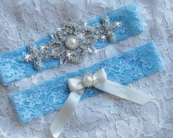 Something Blue Wedding Garter, Blue Lace Garter, Victorian Bridal Garter, Wedding Garters, Wedding Garder, Rhinestone Garter Set, Weddings