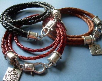Om Bracelet, Wrap Bracelet, Leather Bracelet, Mens Bracelet, Double Wrap, Mens Jewelry, Womens Bracelet, Womens Jewelry, Leather Bracelet,