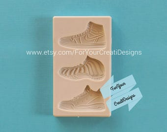 Sports Shoes Silicone Mold for chocolate, resin, fondant, clay. 3 cavities with 3 different designs.