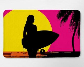 Surf Bathroom, Surfer Girl Decor, Surfboard Bath Mat, Surf Bath Mat, Surf Decor, Dorm Bathroom, Beach Bathroom Decor, Beach Bath Mat