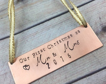 Our First Christmas Ornament, Couple First Christmas Ornament, Personalized Custom Xmas Ornament, Our First Christmas as Mr and Mrs Ornament