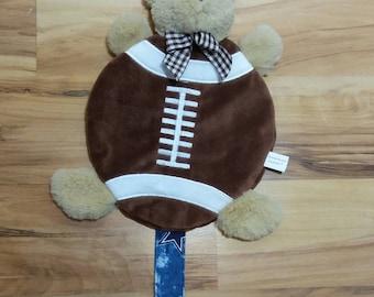 Teddy Bear Snuggle Football Pacifier Clip