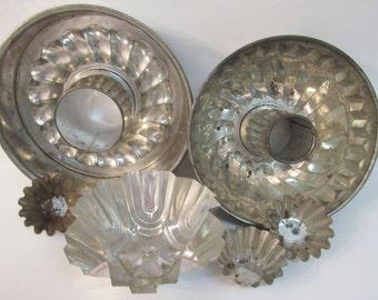 Lot of 6 Vintage Aluminum Baking, Decorative Pans, Spring Form, Tart Molds, Bundt Cake Pan, Kitchen Decor, Reflective Silver Finish