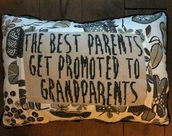 """Needlepoint Decorative Pillow """"Parents promotion"""""""