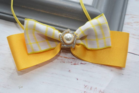 Ivory and Yellow Special Occasion Bow - Baby / Toddler / Girls / Kids Headband / Hairband / Hair bow / Barrette / Hairclip