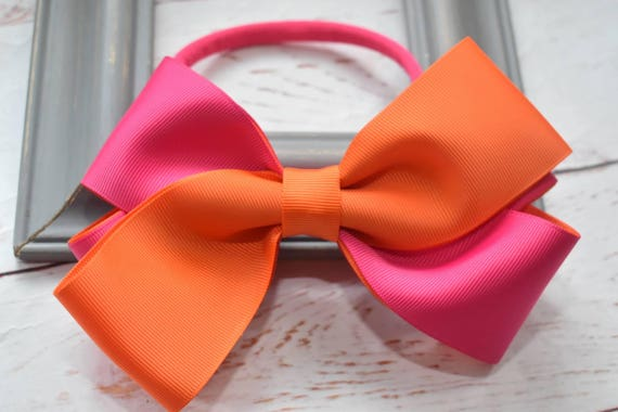 Oversized orange and fuchsia pink Bow - Baby / Toddler / Girls / Kids Headband / Hairband / Hair bow / Barrette / Hairclip