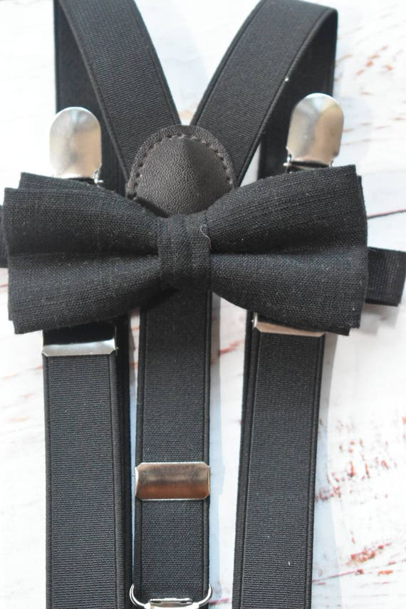 Kids Black Linen Bow Tie for Baby, Toddlers and Boys (Kids Bow Ties)