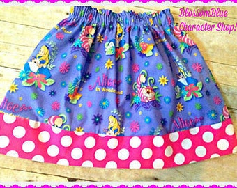 alice in wonderland skirt  2T 3T 4T 5T 4/5 6/6X 7/8 10/12 14/16 ready to ship
