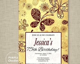 75th 30th 40th 50th Butterfly Invitation Garden Party Invite Birthday invitation Flower Invite Elegant Woman Invite DIY 5x7 JPEG 323