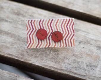 wooden love earrings