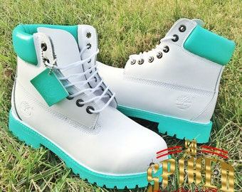 Custom Adult White Timberlands