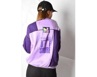 Vintage 80s Purple Colour Block Drop Shoulder Sweatshirt