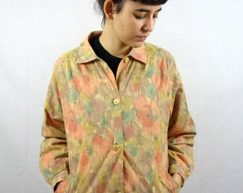 Vintage 80s Light Floral Pastel Jacket Buttons Spring Summer Women Womens M Medium