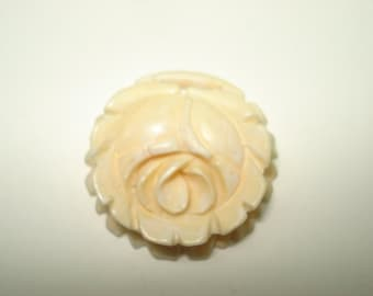 Antique Hand Carved Rose Pendant