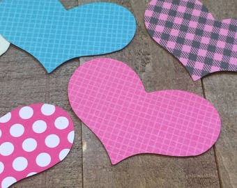 Scrapbook Paper Heart Die Cuts / Heart Embellishments / Card Making Supplies / Valentine's Day 100 Count