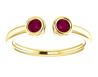 25% OFF Garnet Dual Stone Ring, Sterling silver, 14K Gold, Stacking Ring, Birthstone Ring