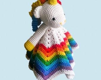 Amigurumi Unicorn Lovey /Security blanket, mercerised cotton, crocheted. Small 30cm - birth gift - baby shower