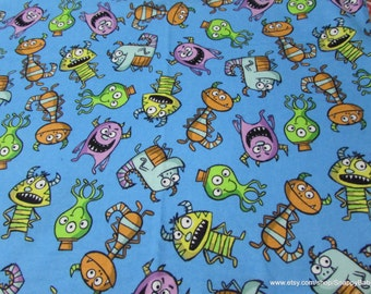 Flannel Fabric - Funny Monsters - By the Yard- 100% Cotton Flannel