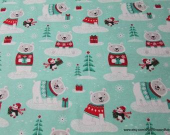 Christmas Flannel Fabric - Winter Polar Bear - 1 yard - 100% Cotton Flannel