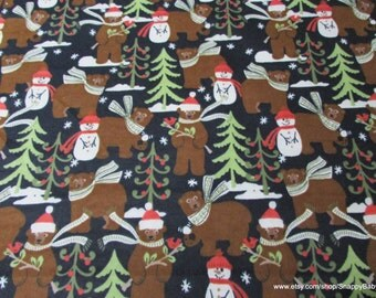 Christmas Flannel Fabric - Bundled Up Bears and Snowmen - 1 yard - 100% Cotton Flannel
