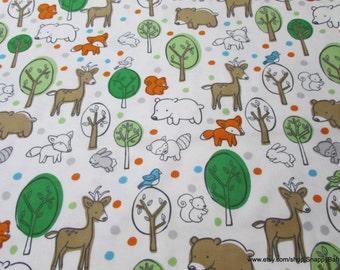 Flannel Fabric - Boy Woodland - 1 yard - 100% Cotton Flannel