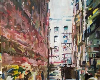 Downtown Scranton Alley Oil Painting