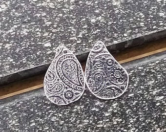 Paisley earrings, Boho earrings, Sterling silver earrings, Stud earrings, Unique earrings