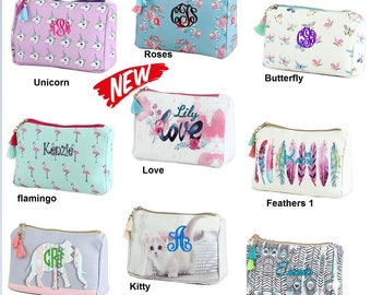 Personalized stylish Cosmetic bag- Great for everyday use, traveling or giving as a gift. Cutest of styles to fit any age!