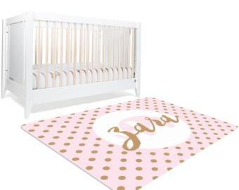 Elephant Nursery Rug, Monogram Rug, Pink Elephant Nursery, Name Nursery Decor, Pink and Gold Room Decor, Girls Bedroom Decor, Playroom Rug