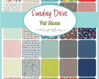 Sunday Drive Prints Layer Cake by Pat Sloan for Moda - M43070LC Precut 100% cotton fabric for quilting and sewing, free postage in Australia