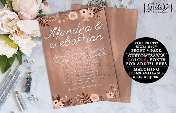 Rose gold wedding invitations, bohemian wedding, rose gold foil digital invite, couture wedding, glitz and glam fashion designer invites