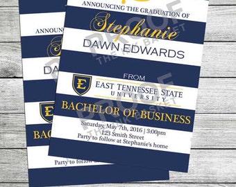 Graduation Invitation Announcement Striped Blue and White and Gold
