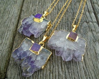 Gift Mum, Amethyst Slice, Amethyst Druzy Necklace, Mother's Day Gift, Stalactite Slice, Purple Druzy Slice Square Druzy Raw Amethyst Pendant