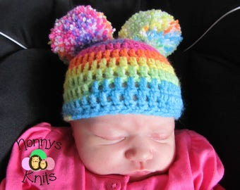 Crochet hat with oversized Pompoms Prices vary