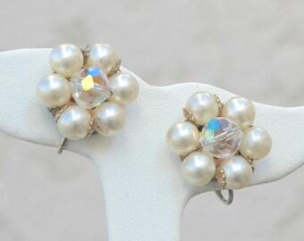 Laguna Pearl and Aurora Borealis Crystal Earrings Vintage