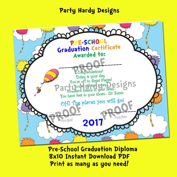 Oh the places you will go printable 2017 preschool graduation oh the places you will go printable 2017 preschool graduation diploma instant download yadclub