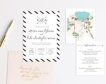 Classic Striped Wedding Invitation