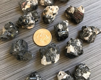 One (1) Protective Black Tourmaline Cluster with Clear Quartz from lot - Ships free in US!