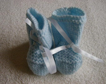 Hand Knitted Baby Booties Colour Blue