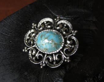 Vintage Turquoise and Silver Brooch, Oval Brooch, Pin, Sunburst, Turquoise Silver Jewelry, Western, Southwestern,Small Turquoise Scatter Pin